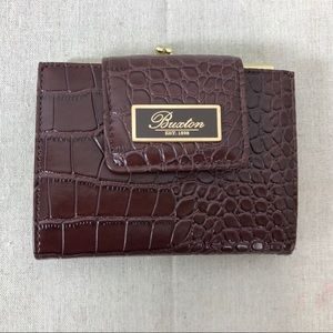 Buxton Brown Croco Bi-Fold Wallet Coin Purse